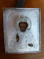 Russian icon with silver