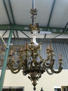 a large bronze and marble chandelier