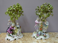 A pair Potshappel porcelain romantic groupes.