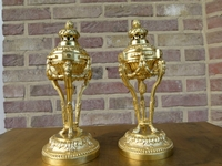 1 pair gilded bronze Louis 16 style Candelsticks/brulle parfum